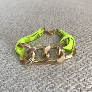 Neon Green and Gold Tone Chain Link Bracelet